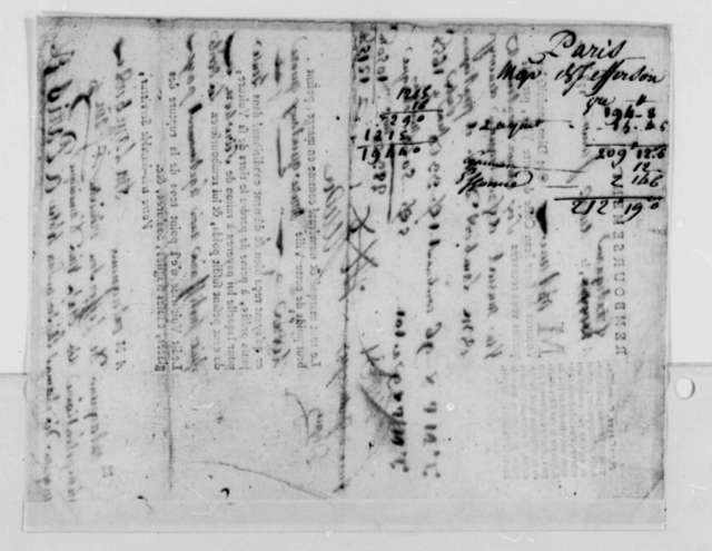 Jean Coste to Thomas Jefferson, June 2, 1787, Receipt for Shipment of Muscat Wine; in French