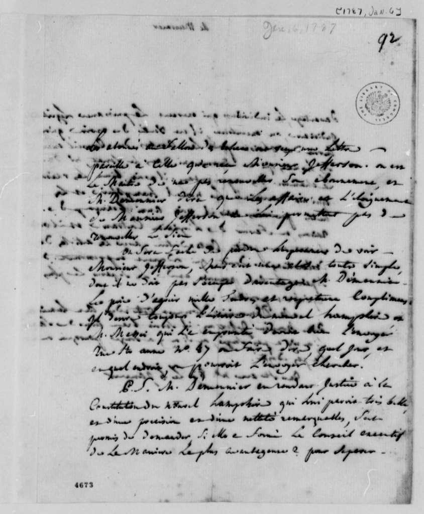 Jean Nicholas Demeunier to Thomas Jefferson, January 6, 1787