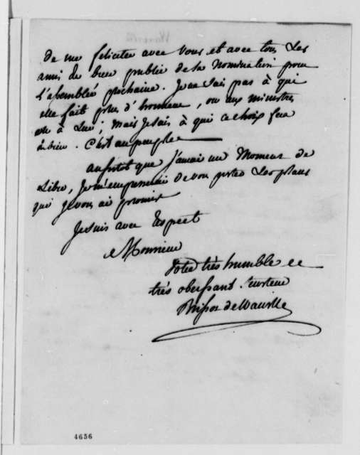 Jean Plumard Brissot de Warville to Thomas Jefferson, January 3, 1787, in French; with Copy