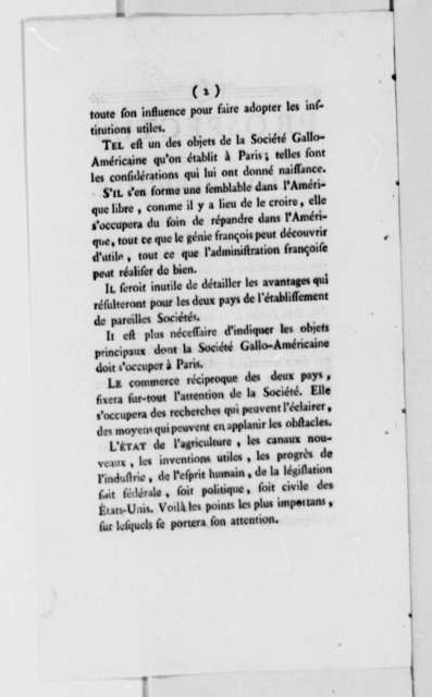 "Jean Plumard Brissot de Warville to Thomas Jefferson, March 8, 1787, with Printed ""Prospectus de la Societe Gallo-Americaine""; in French"