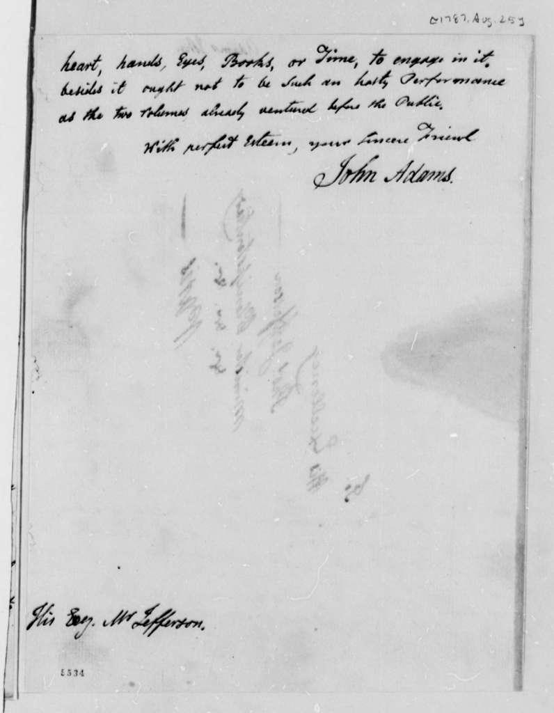 John Adams to Thomas Jefferson, August 25, 1787