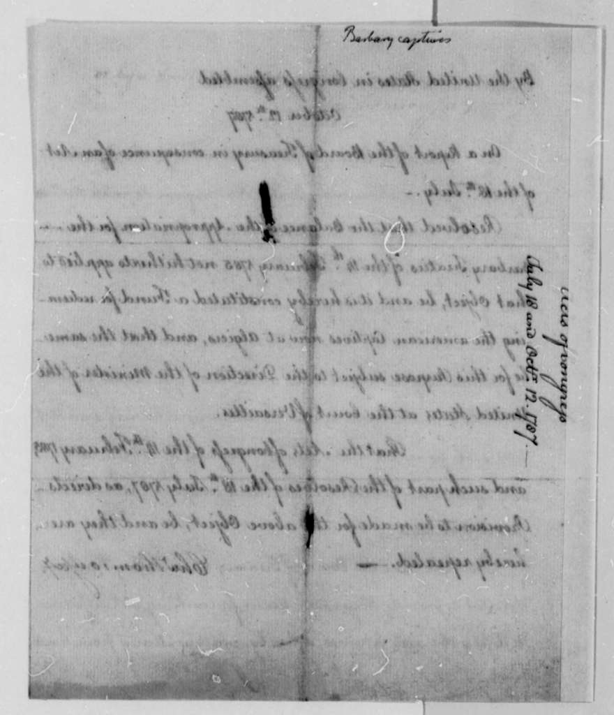 John Adams to Thomas Jefferson, December 10, 1787, with Acts of Congress on American Captives in Algiers