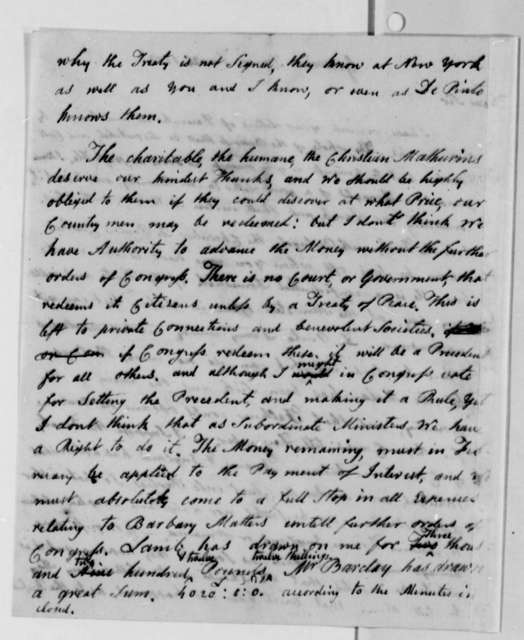 John Adams to Thomas Jefferson, January 25, 1787, Sent with Thomas Barclay's Current Account of Accepted Drafts, same date