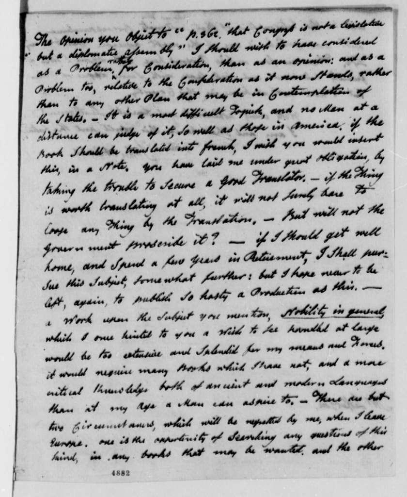 John Adams to Thomas Jefferson, March 1, 1787