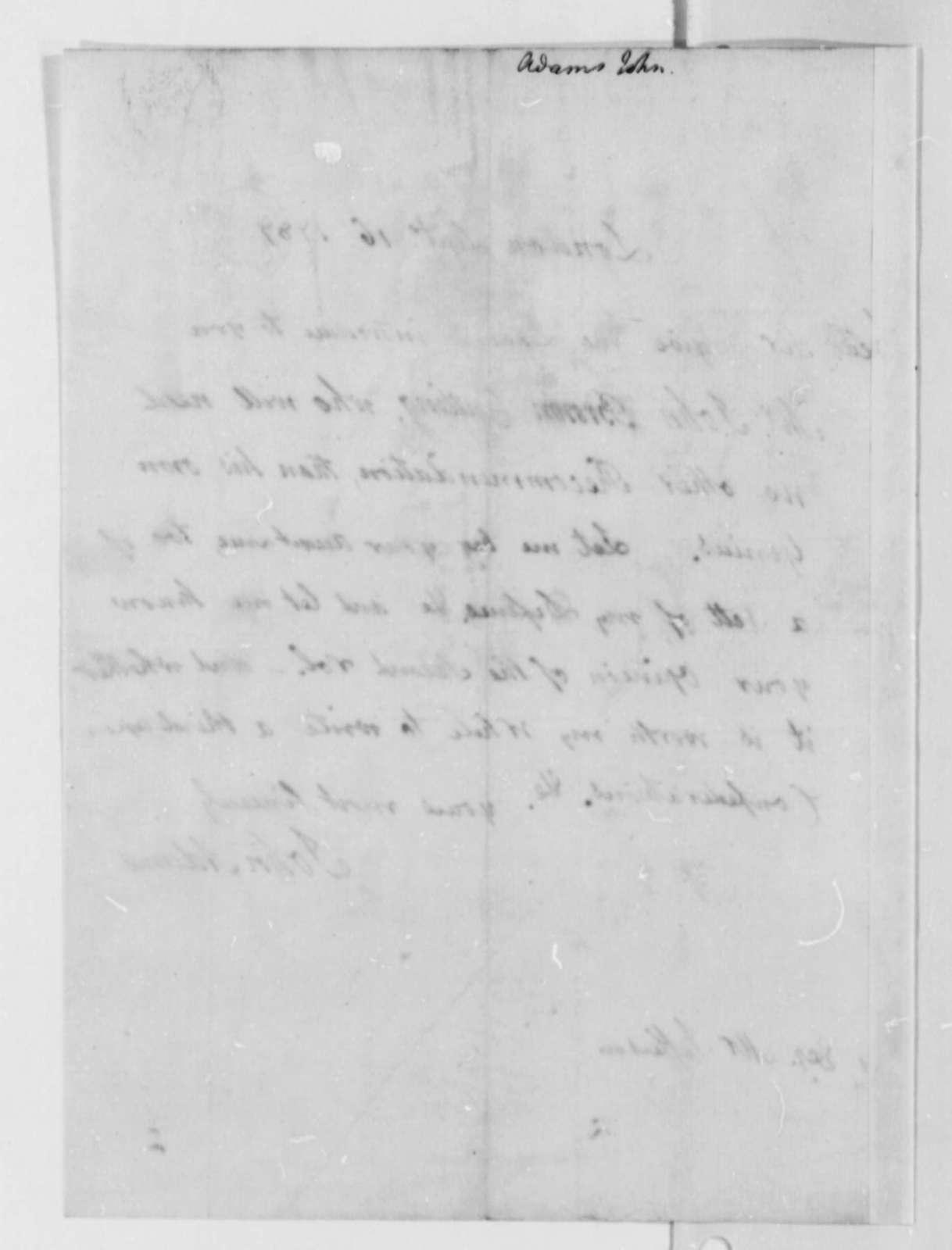 John Adams to Thomas Jefferson, September 16, 1787