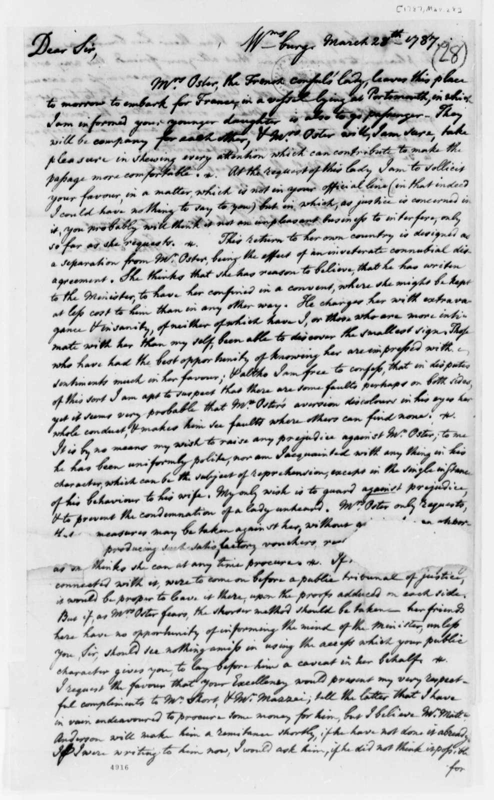 John Blair to Thomas Jefferson, March 28, 1787