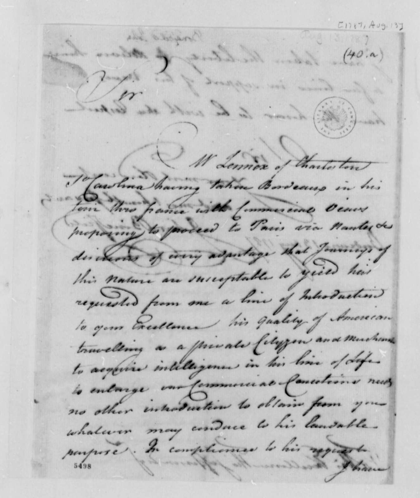 John Bondfield to Thomas Jefferson, August 13, 1787