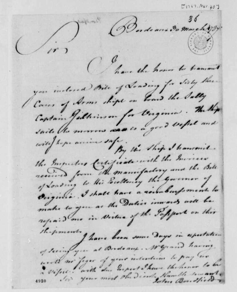 John Bondfield to Thomas Jefferson, March 30, 1787