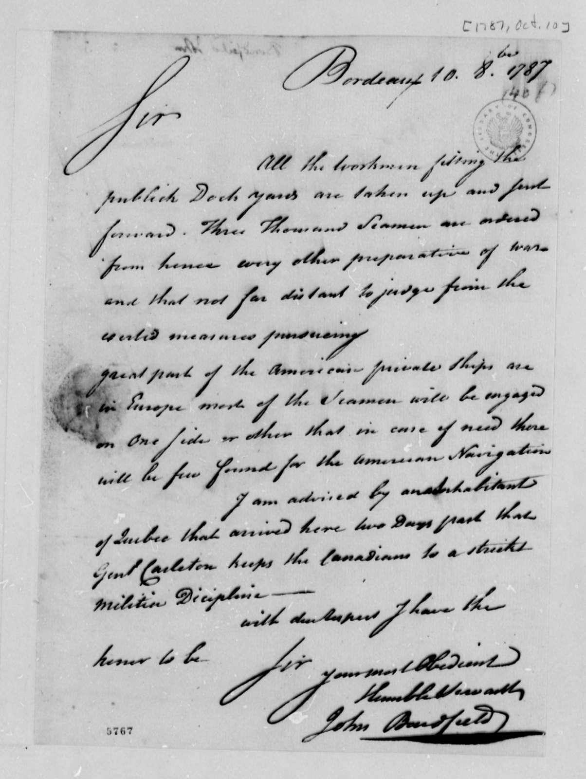 John Bondfield to Thomas Jefferson, October 10, 1787
