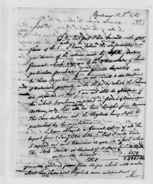 John Bondfield to Thomas Jefferson, October 12, 1787