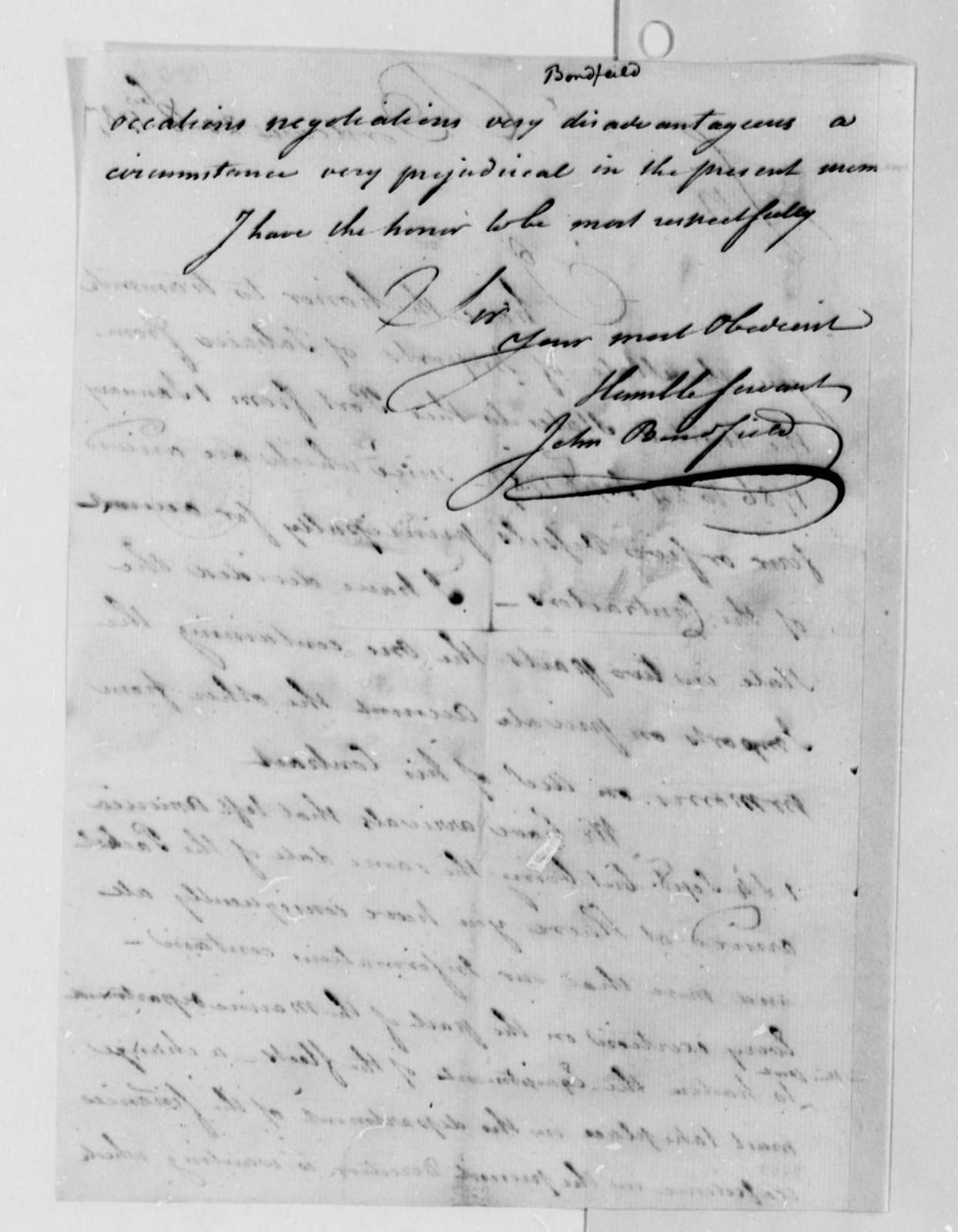 John Bondfield to Thomas Jefferson, October 20, 1787, with List of Tobacco Imports at Bordeaux, France