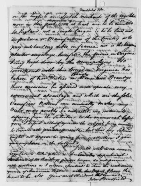 John Bondfield to Thomas Jefferson, September 11, 1787
