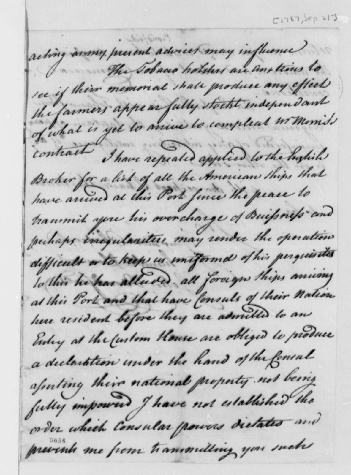 John Bondfield to Thomas Jefferson, September 21, 1787