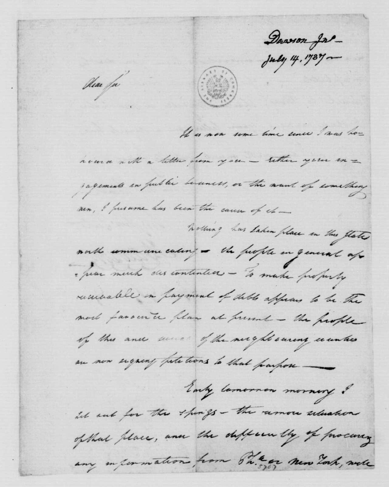 John Dawson to James Madison, July 14, 1787.