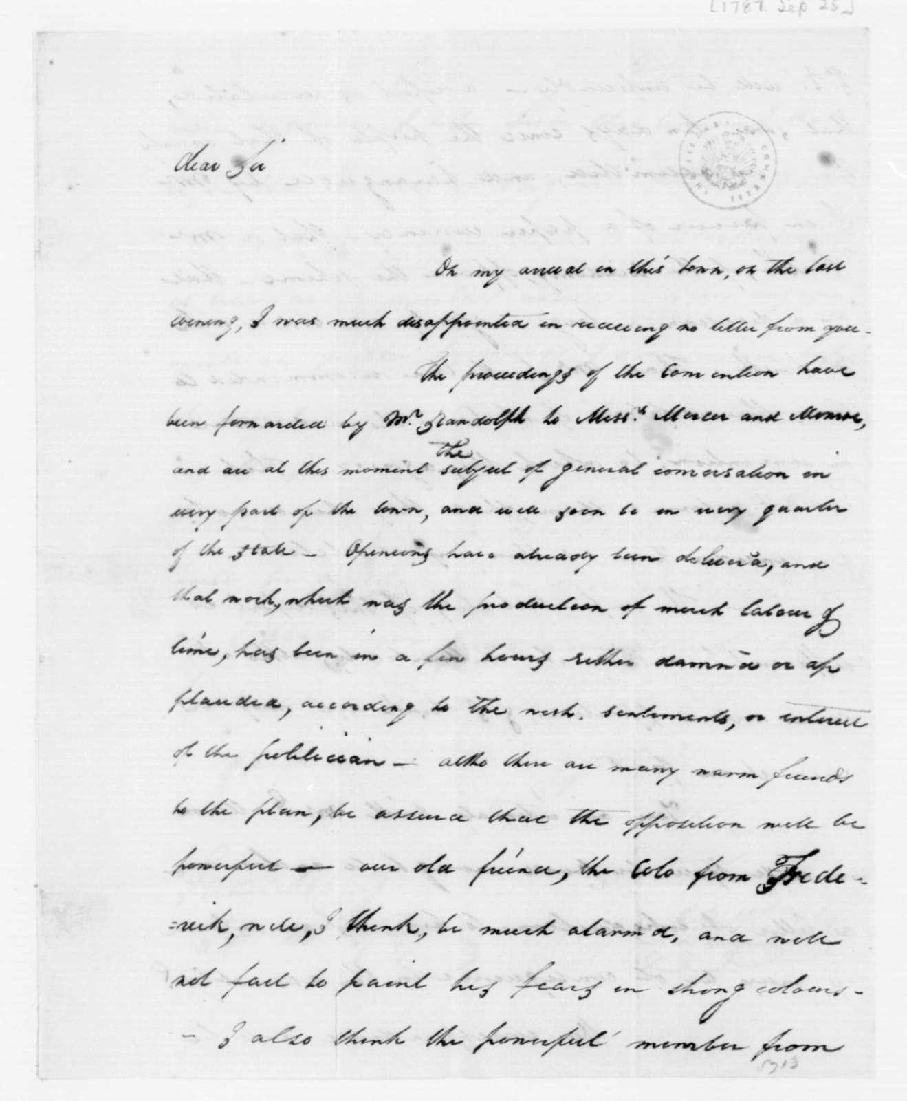 John Dawson to James Madison, September 25, 1787.