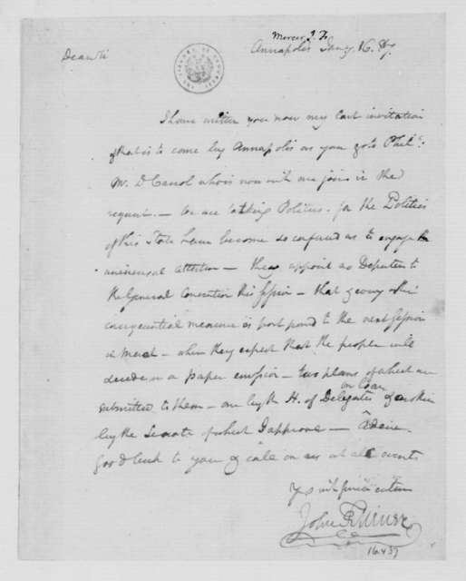 John Francis Mercer to James Madison, January 16, 1787.
