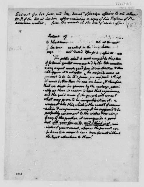 John Jay to John Adams, October 1787, Extract