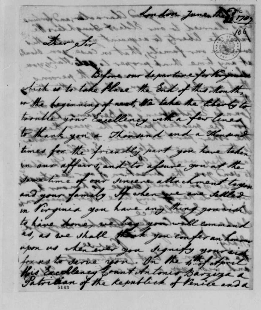 John Paradise and Lucy Ludwell Paradise to Thomas Jefferson, June 22, 1787