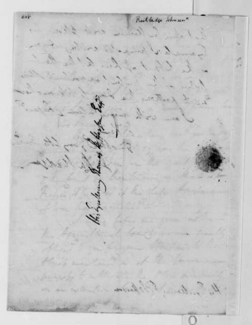 John Rutledge, Sr. to Thomas Jefferson, December 25, 1787
