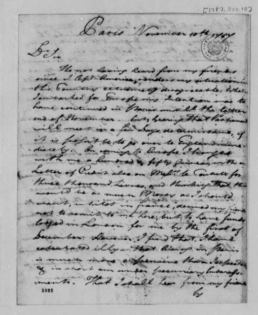 John Rutledge, Sr. to Thomas Jefferson, November 10, 1787