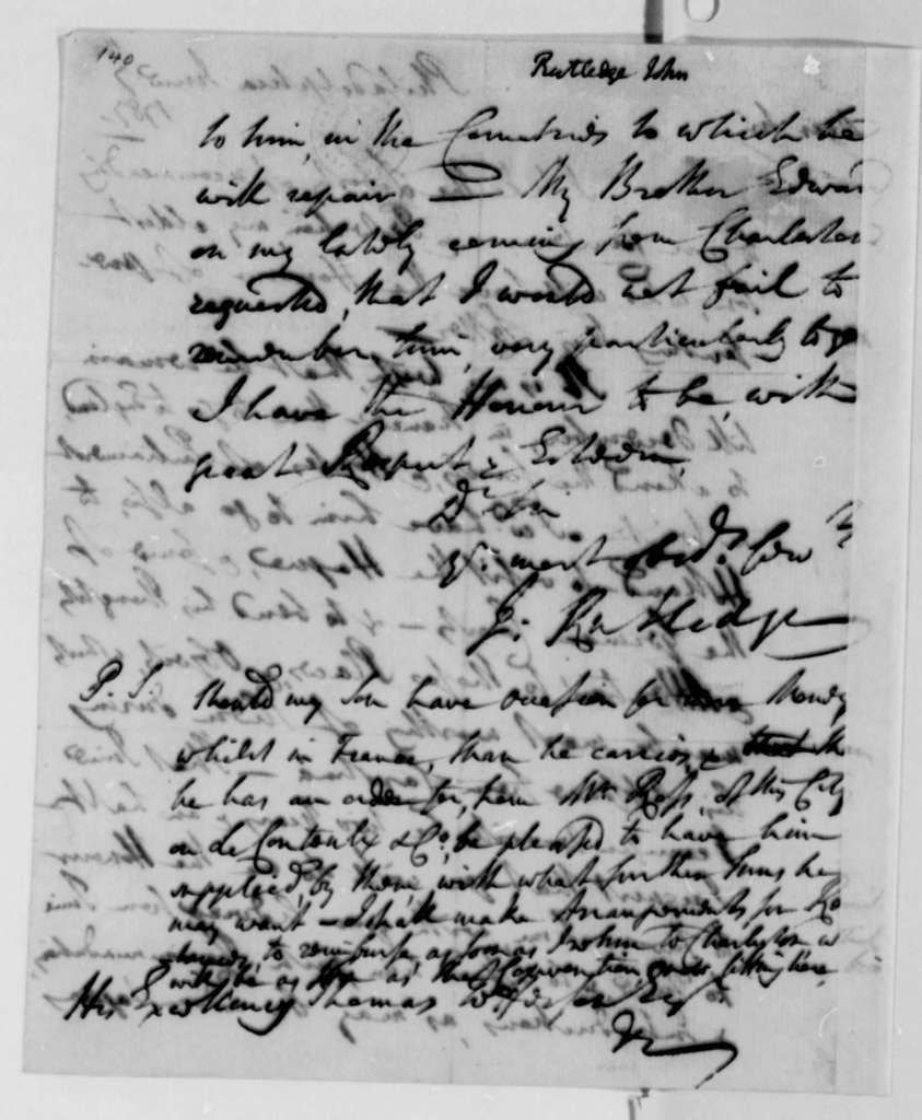 John Rutledge to Thomas Jefferson, June 7, 1787