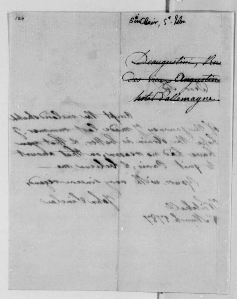 John Sinclair to Thomas Jefferson, March 9, 1787