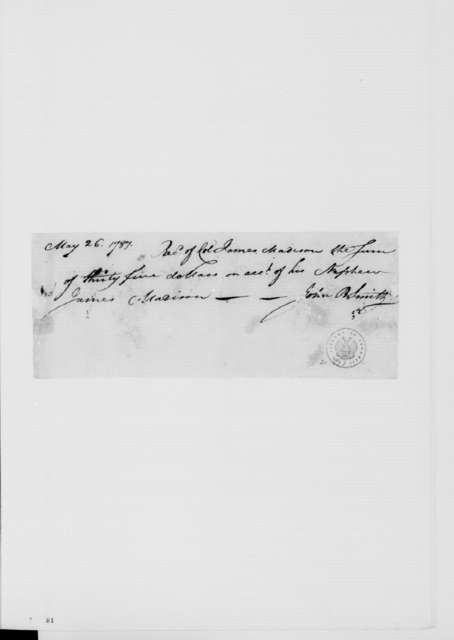 John Smith to James Madison, May 26, 1787. Receipt.