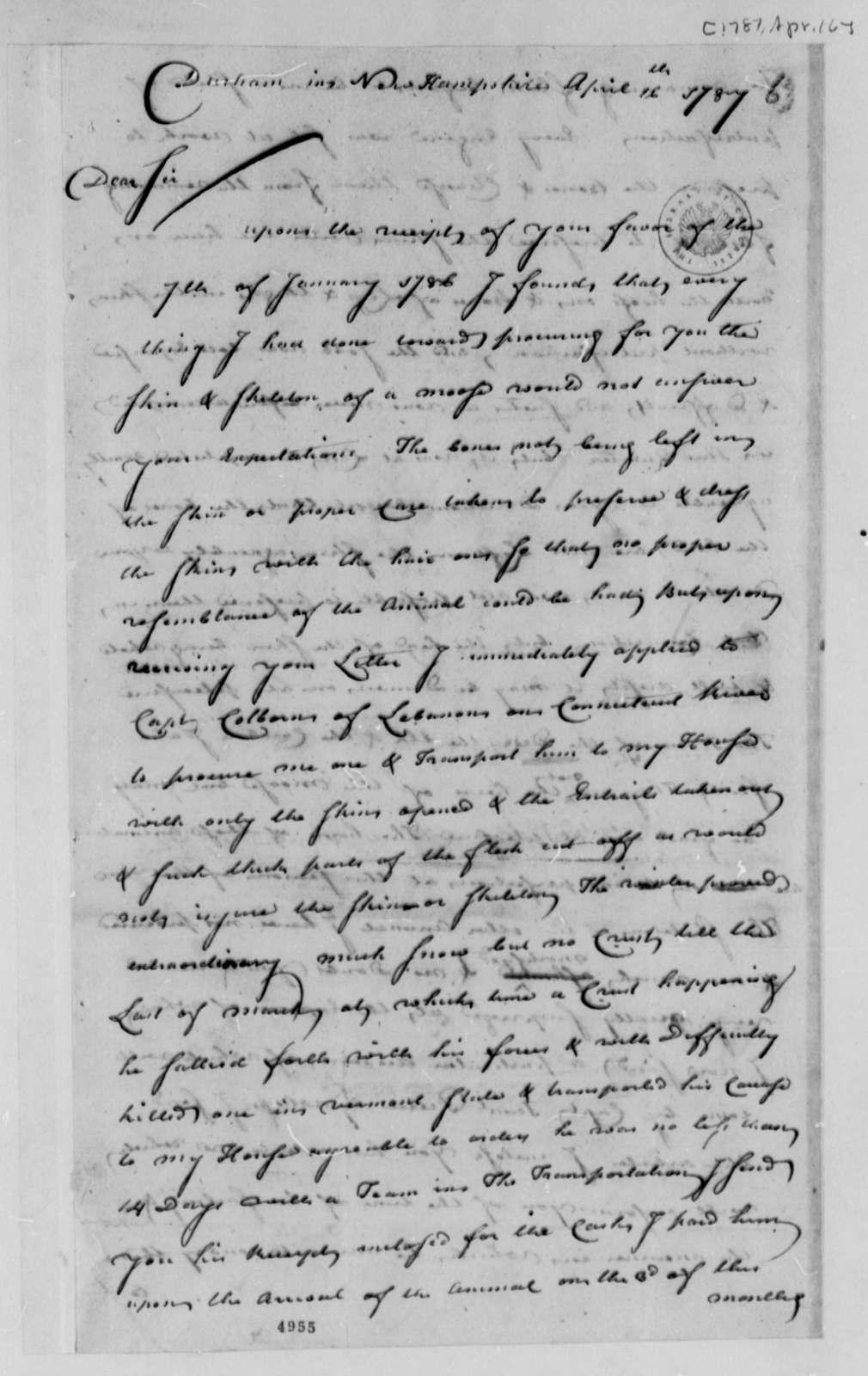 John Sullivan to Thomas Jefferson, April 16, 1787