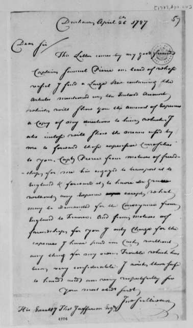 John Sullivan to Thomas Jefferson, April 26, 1787, with Account of Expenses for Procuring and Shipping Skeletons, Horns, and Hides of Moose, Elk, Deer, and Caribou