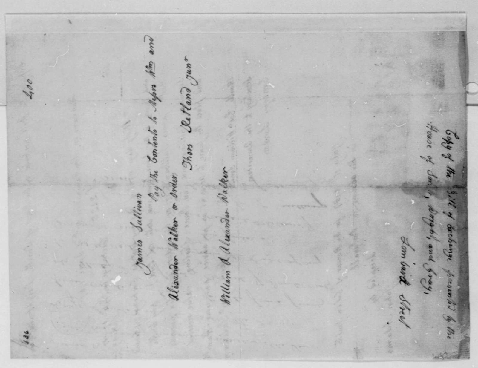 John Sullivan to William S. Smith, April 27, 1787, Copy of Bill of Exchange Presented by Smith, Wright, & Gray