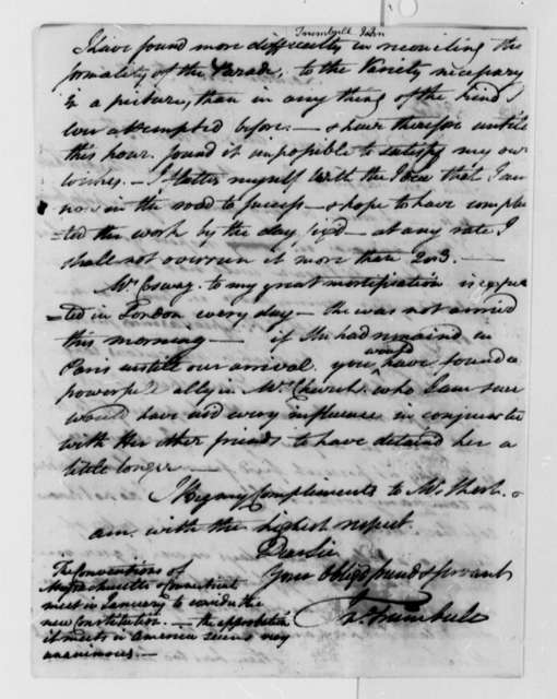 John Trumbull to Thomas Jefferson, December 7, 1787