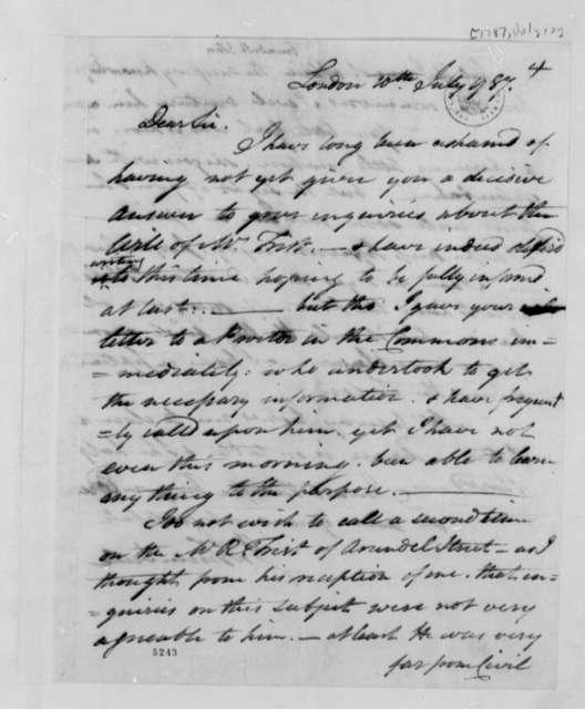 John Trumbull to Thomas Jefferson, July 10, 1787