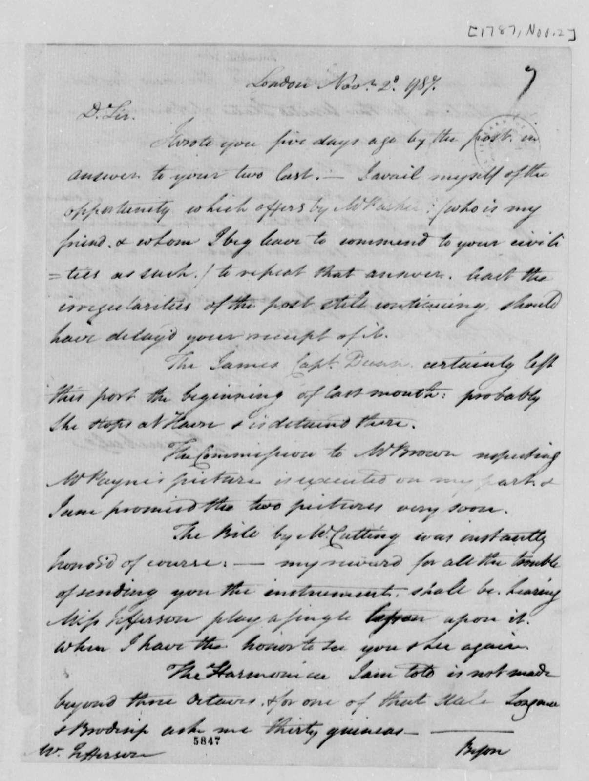 John Trumbull to Thomas Jefferson, November 2, 1787
