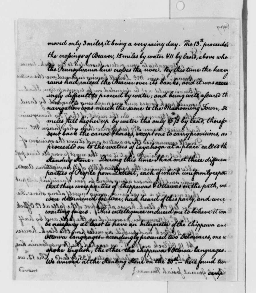 Jonathan Heart to Josiah Harmar, December 1787, Big Beaver River, Ohio River, and Lake Erie Navigation