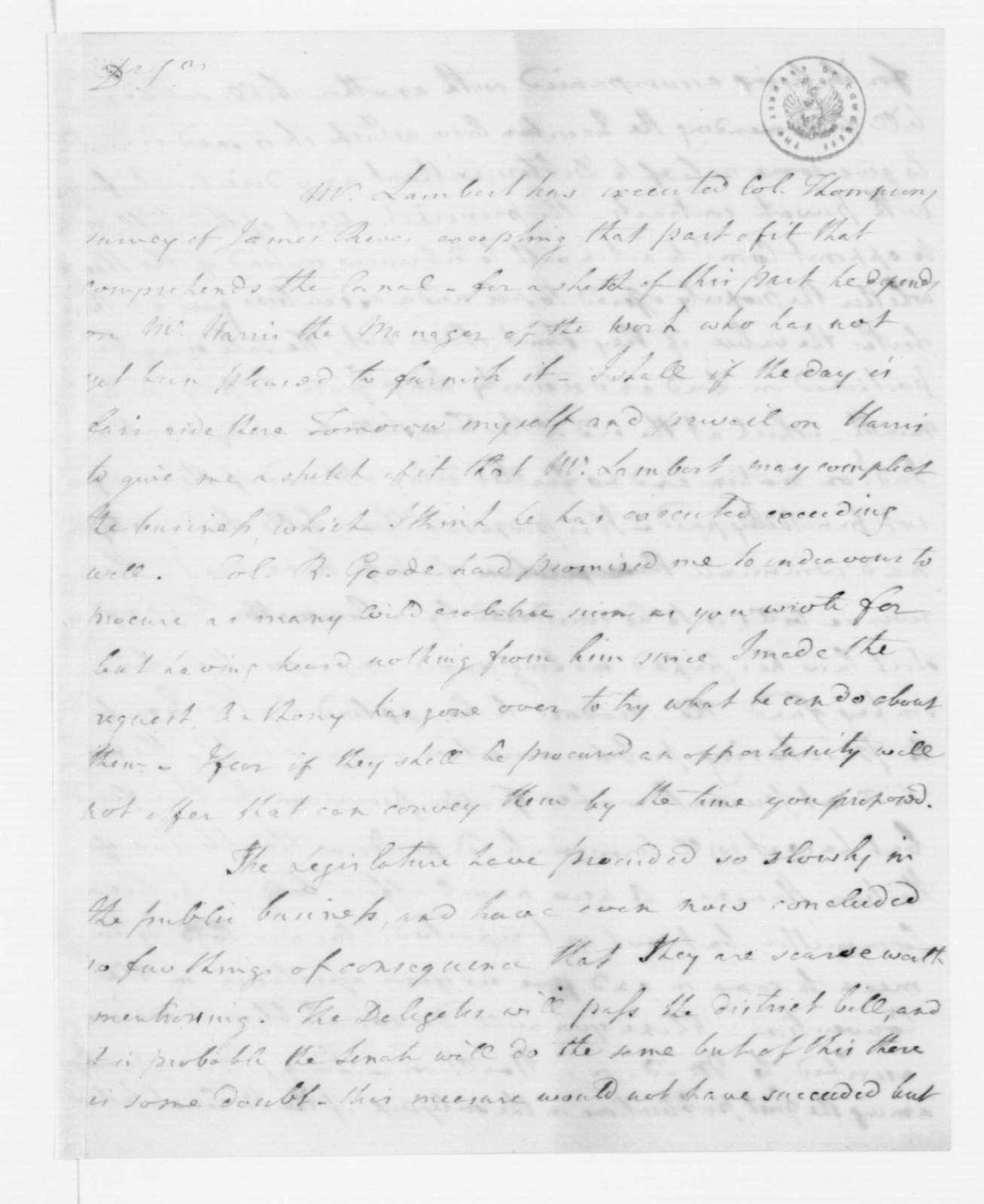 Joseph Jones to James Madison, December 18, 1787.