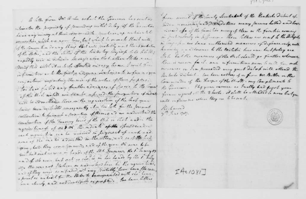 Joseph Jones to Thomas Jefferson, June 7, 1787.