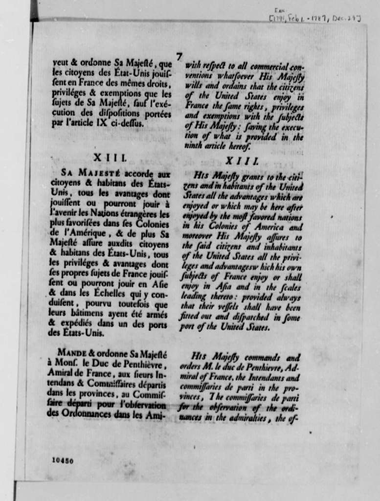 King's Council of State of France, December 29, 1787, Printed Pamphlet in French and English on U. S. and French Trade