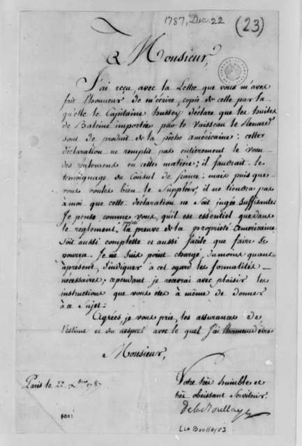 La Boullaye to Thomas Jefferson, December 22, 1787, in French