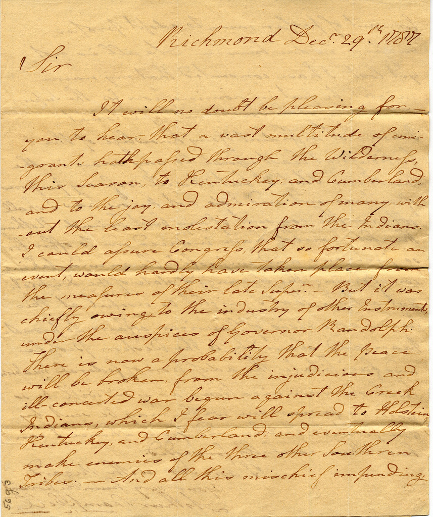 Letter from Arthur Campbell to John Brown