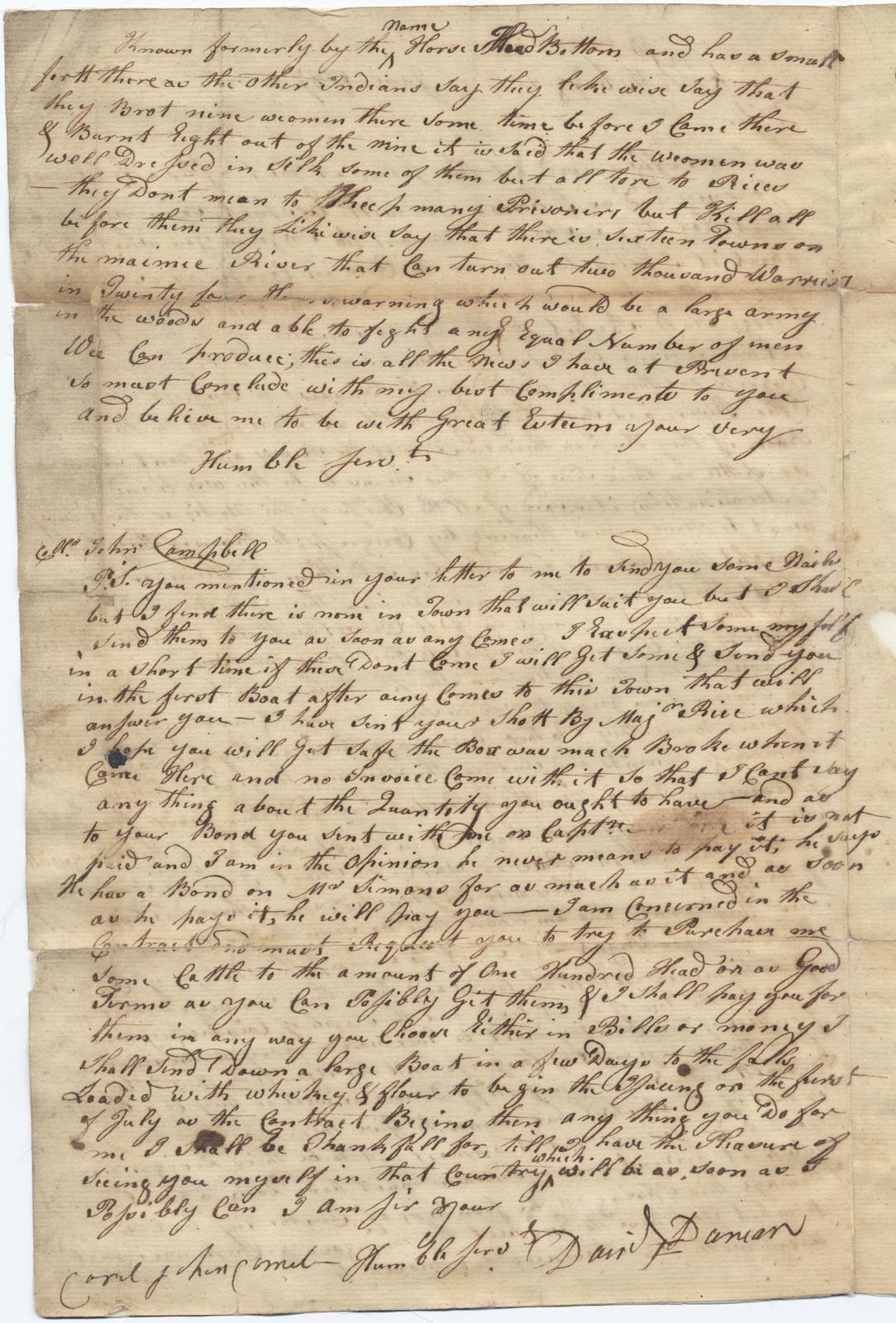 Letter from Daniel Duncan to John Campbell