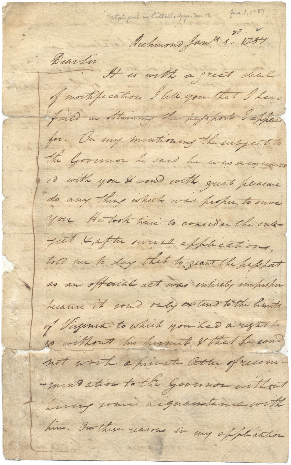 Letter from John Marshall to James Wilkinson