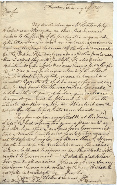 Letter from Richard Caswell to Evan Shelby