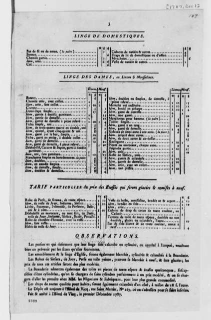 L'Hotel de Vicq, December 1, 1787, Laundry Price List; Printed in French