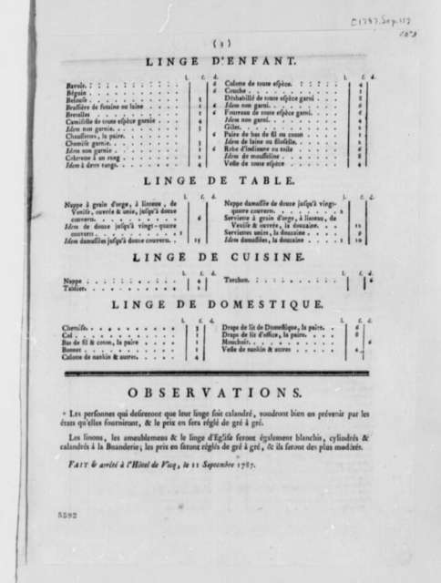 L'Hotel de Vicq, September 11, 1787, Laundry Price List; Printed in French