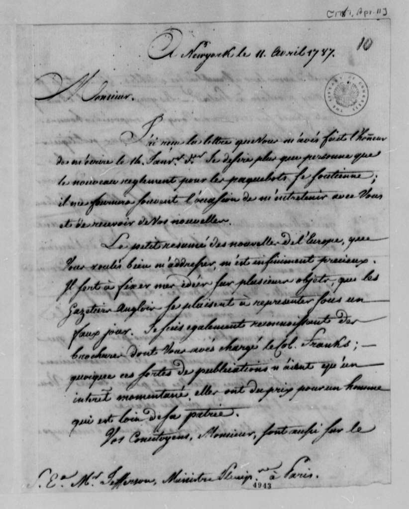 Louis Guillaume Otto to Thomas Jefferson, April 11, 1787, in French