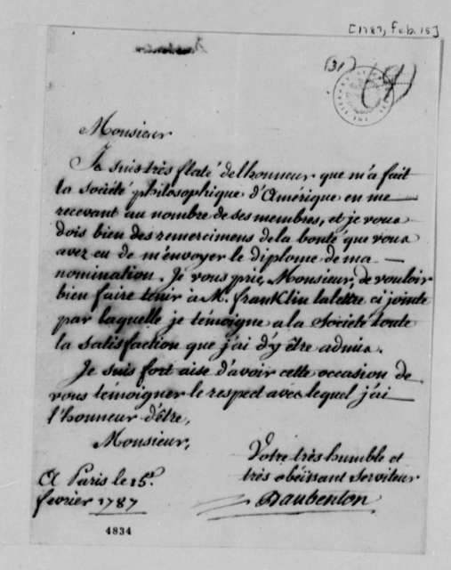 Louis Jean Marie Daubenton to Thomas Jefferson, February 15, 1787
