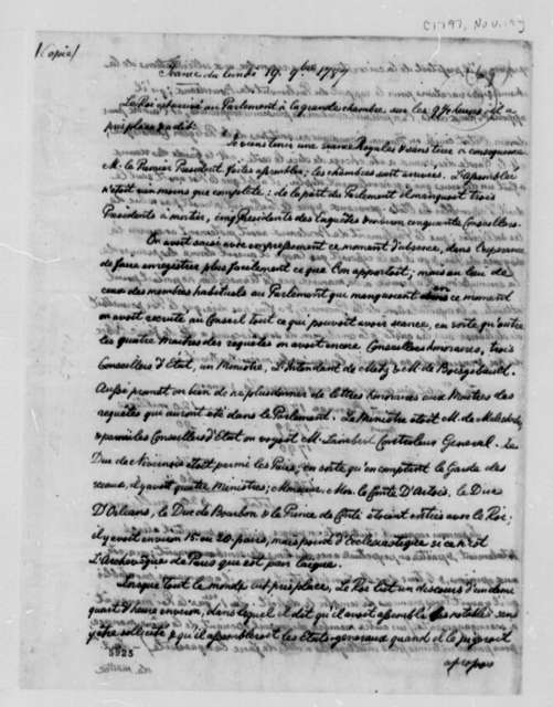 Louis VI, King of France, November 19, 1787, Address to Parliament; in French; with Copy