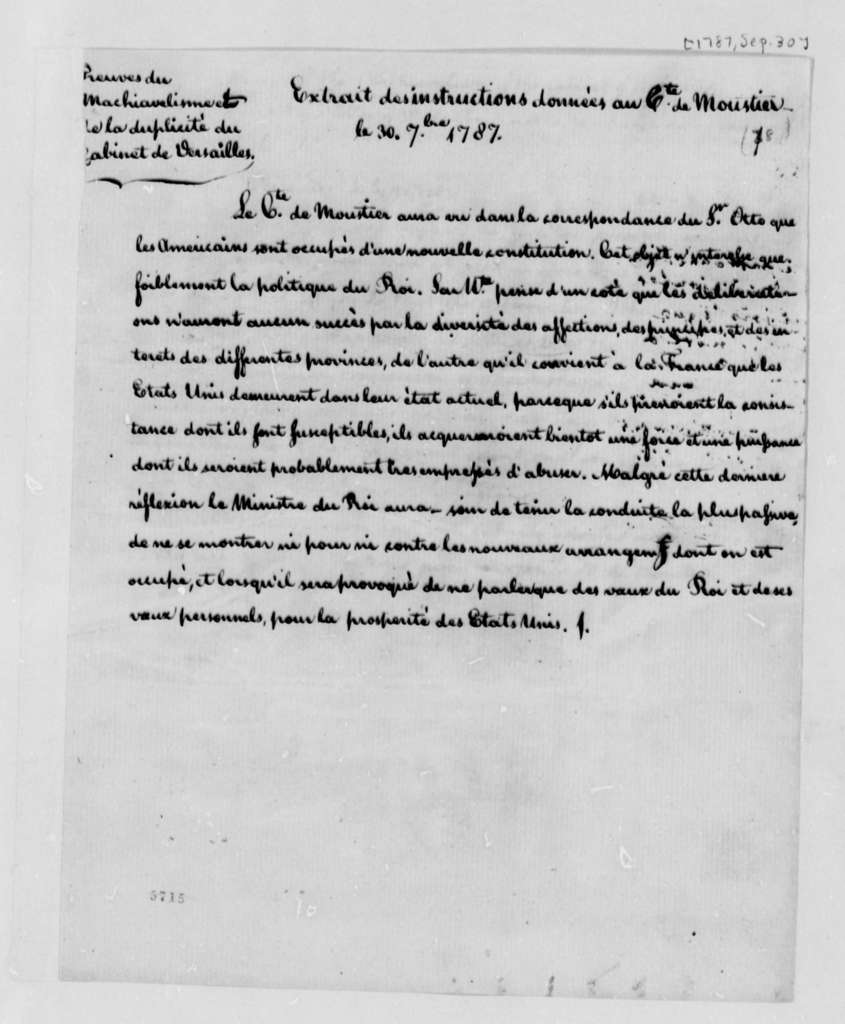 Louis VI, King of France to Eleonore Francois Elie, Comte de Moustier, September 30, 1787, Instructions as Minister Plenipotentiary from France to the United States; in English and French