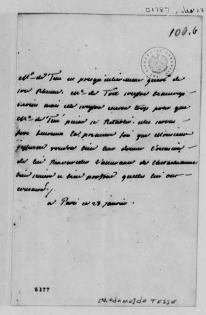 Madame Noailles de Tesse to Thomas Jefferson, January 23, 1787, in French
