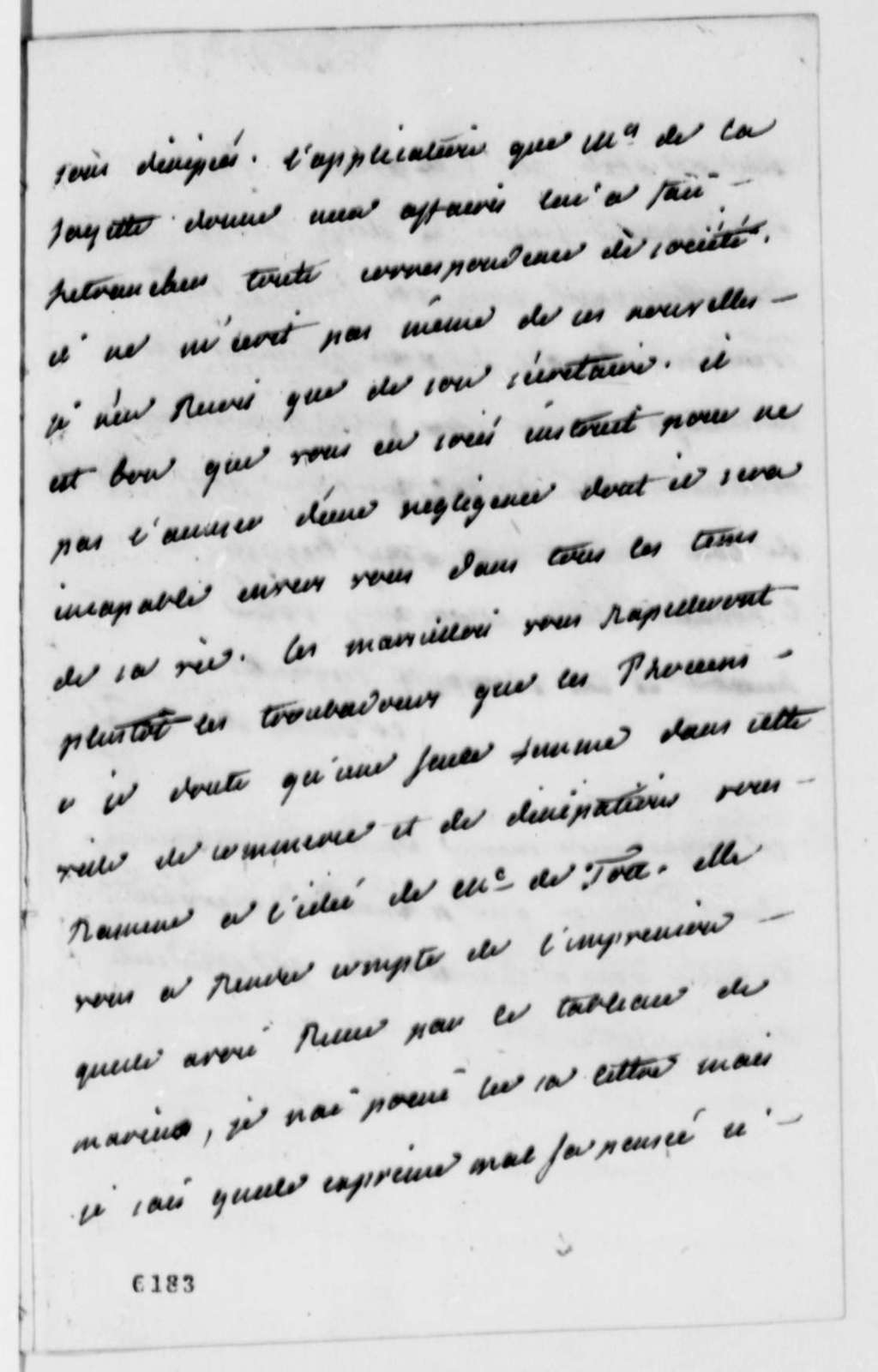 Madame Noailles de Tesse to Thomas Jefferson, March 30, 1787, in French